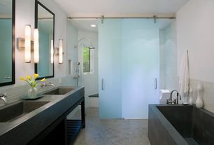 Contemporary Master Bathroom with Master bathroom, Undermount sink, Rain shower, Wall sconce, Concret surface sinks