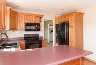 Traditional Kitchen with High ceiling, Flat panel cabinets, Hardwood floors, Slate counters, U-shaped, Slate