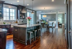 Traditional Kitchen with Breakfast nook, Complex granite counters, French doors, Subway Tile, Kitchen island, Farmhouse sink