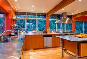 Contemporary Kitchen with Mazama hardwood - handscraped south american collection natural, Complex Granite, L-shaped, Flush