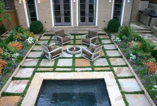Traditional Patio with exterior stone floors, Elegant tile and stone norwegian buff quartzite, French doors, Pathway, Fence