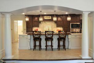 Traditional Kitchen with Columns, Calacatta marble, Custom hood, One-wall, Breakfast bar, Complex Marble, Kitchen island
