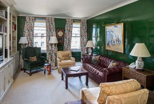 Traditional Living Room with double-hung window, Crown molding, Standard height, Carpet, bedroom reading light