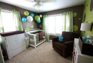 Contemporary Kids Bedroom with Carpet, Life Style Furnishings Comfy Cozy Skirted Glider, Ceiling fan