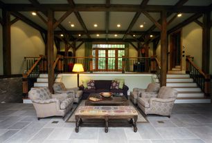 Craftsman Living Room with travertine floors, Columns, High ceiling, Hammary 090-303 Hidden Treasures Kilim Rug Bench, Loft