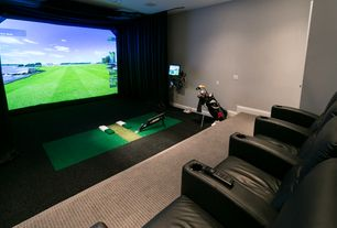 Contemporary Game Room with Carpet