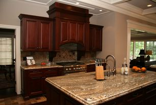 Traditional Kitchen with stone tile floors, One-wall, High ceiling, full backsplash, Framed Partial Panel, can lights