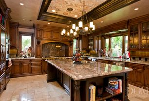 Traditional Kitchen with Natural wood framing, slate tile floors, Brick red chevron stone wallpaper seabrook, Kitchen island