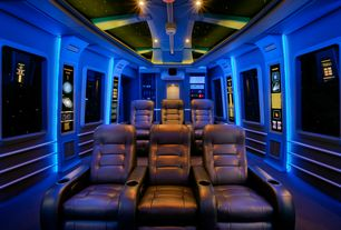 Eclectic Home Theater with Custom Theater Seating / Straight Row of 3 Leather Seats, Carpet, interior wallpaper, Box ceiling