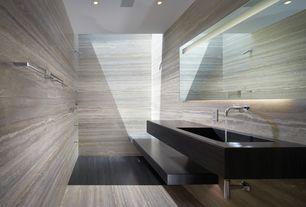Contemporary Master Bathroom with wall-mounted above mirror bathroom light, Standard height, Undermount bathroom sink, Shower