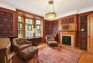 Traditional Living Room with flush light, interior wallpaper, Laminate floors, flat door, Stained glass window, Fireplace