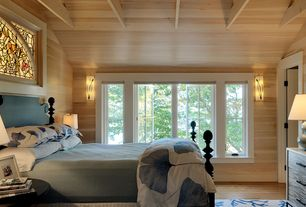 Cottage Master Bedroom with Winsome toby end table, Box ceiling, Hardwood floors, six panel door, Wall sconce, Casement