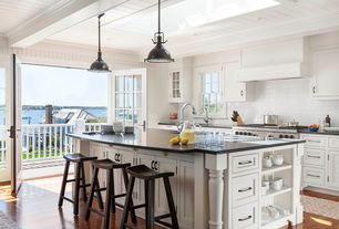 Traditional Kitchen with Restoration hardware harmon pendant, French doors, Glass french doors, Subway Tile, Balcony