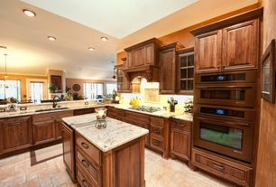 Traditional Kitchen with Casement, Pendant light, flush light, Framed Partial Panel, Complex Marble, Raised panel, L-shaped