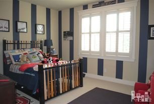 Traditional Kids Bedroom with Home Basics Plantation Faux Wood White Interior Shutter, interior wallpaper, Carpet