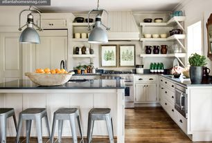 Traditional Kitchen with Mercator gladiator industrial metal charcoal pendant, Pendant light, Soapstone counters, Soapstone