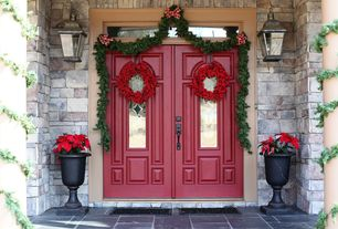 Traditional Front Door with Transom window, Exterior stone siding, Glass panel door, exterior stone floors