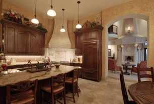 Mediterranean Kitchen with Kitchen island, The Tile Shop Royal Amber Mix Brushed Chiseled Large Versailles Pattern 16 SF