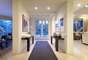 Contemporary Entryway with Exposed beam, Laminate floors, French doors