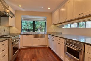 Contemporary Kitchen with Stainless steel microwave drawer, Hardwood floors, Flush, Slate Tile, Shaker cabinet, U-shaped
