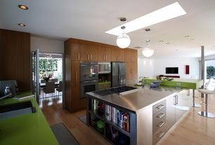 Modern Kitchen with double wall oven, can lights, built-in microwave, Multiple Refrigerators, French doors, Breakfast bar