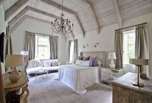 Contemporary Master Bedroom with Concrete floors, Exposed beam, High ceiling, Wall sconce, Chandelier