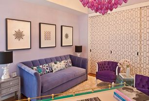 Eclectic Living Room with Stray dog designs steph wood lamp white, Chandelier, High ceiling, Hardwood floors, Wallpaper