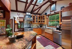 Craftsman Kitchen with Stainless Steel, flush light, Stone Sinks Online Sonoma Single Bowl Farm Sink, Flush, High ceiling
