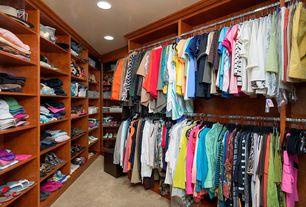 Craftsman Closet with Built-in bookshelf, Carpet