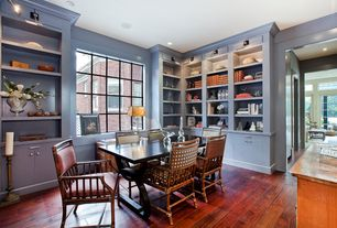 "Traditional Home Office with Built-in bookshelf, Mohawk wek3-07 antique elm cherry hardwood flooring 5"" wide planks, Paint"