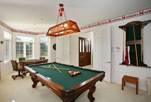 Eclectic Game Room with Pendant light, Glass panel door, Carpet