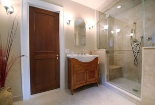 Modern 3/4 Bathroom with can lights, Shower, specialty door, Flat panel cabinets, Standard height, Wall sconce, Console sink