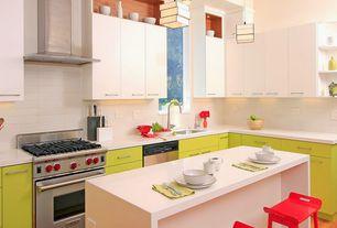 Contemporary Kitchen with Undermount sink, Paint 1, Hardwood floors, Corian counters, Flush, gas range, Kitchen island