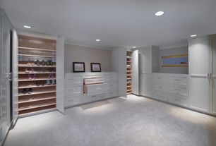 Contemporary Closet with Paint 1, Crown molding, Custom built-in closet, Ikea - pax wardrobe, Standard height, Carpet