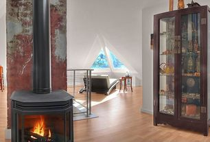 Eclectic Attic with Wood Stove fireplace, High ceiling, picture window, metal fireplace, Hardwood floors, Fireplace