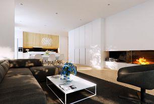 Modern Great Room with Chandelier, Hardwood floors