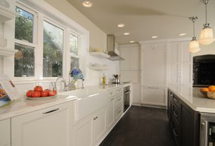 Contemporary Kitchen with Kitchen island, Subway Tile, slate tile floors, Wine refrigerator, Pendant light, L-shaped