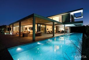 Modern Swimming Pool with exterior tile floors, picture window, exterior concrete tile floors, sliding glass door, Pathway