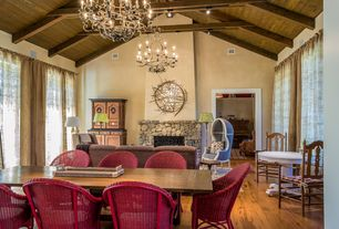 Eclectic Great Room with Exposed beam, flush light, Fireplace, Chandelier, Hardwood floors, High ceiling, stone fireplace
