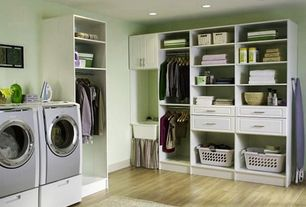 Traditional Laundry Room with Ironing Board, Standard height, Hardwood floors, laundry sink, Hanging Bar, Farmhouse sink