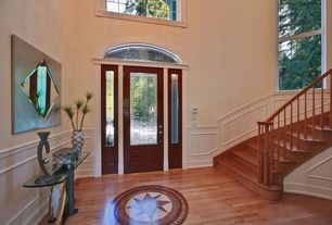 Eclectic Entryway with Wainscotting, Hardwood floors, Casement, Cathedral ceiling, Transom window, Glass panel door