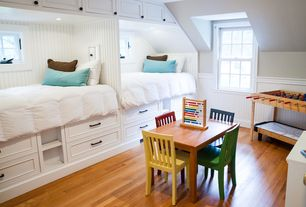 Cottage Kids Bedroom with double-hung window, Standard height, Custom bead board lined bed frames, can lights, Window seat