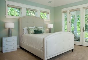 Modern Guest Bedroom with Casement, Carpet, French doors, can lights, High ceiling