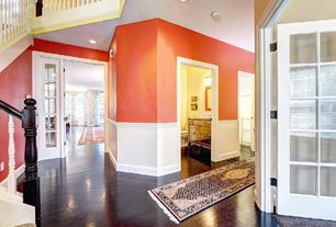 Traditional Entryway with can lights, Wainscotting, French doors, Paint 1, High ceiling, Hardwood floors