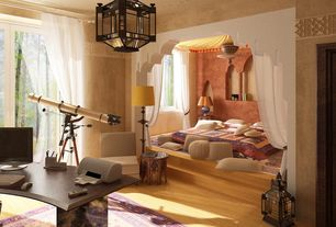 Mediterranean Master Bedroom with flush light, Standard height, Laminate floors, interior wallpaper, picture window