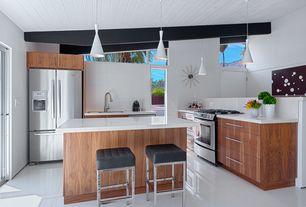 Contemporary Kitchen with Simple granite counters, Undermount sink, Kitchen island, full backsplash, Midcentury modern, Flush