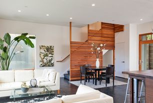 Contemporary Staircase with Table first table round, can lights, Concrete floors, Standard height, curved staircase