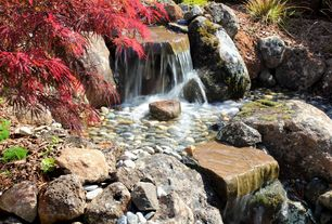 Asian Landscape/Yard with Waterfall, Cascade Stoneworks Mixed Mexican Beach Pebbles, Fountain, Water feature