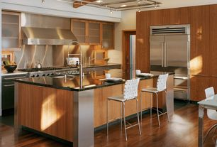 Contemporary Kitchen with Breakfast bar, High ceiling, L-shaped, Breakfast nook, Glass panel, Stainless Steel, French doors