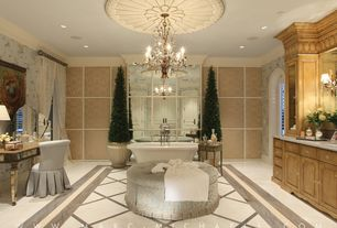 Traditional Master Bathroom with Egg & dart ceiling medallion, specialty door, Art desk, interior wallpaper, Undermount sink